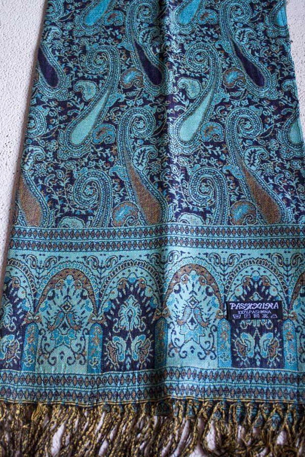 pashmina sjaal turqoise donkerblauw