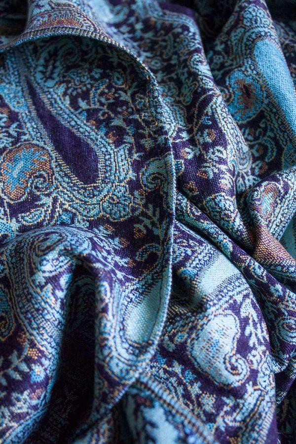 pashmina sjaal turqoise donkerpaars