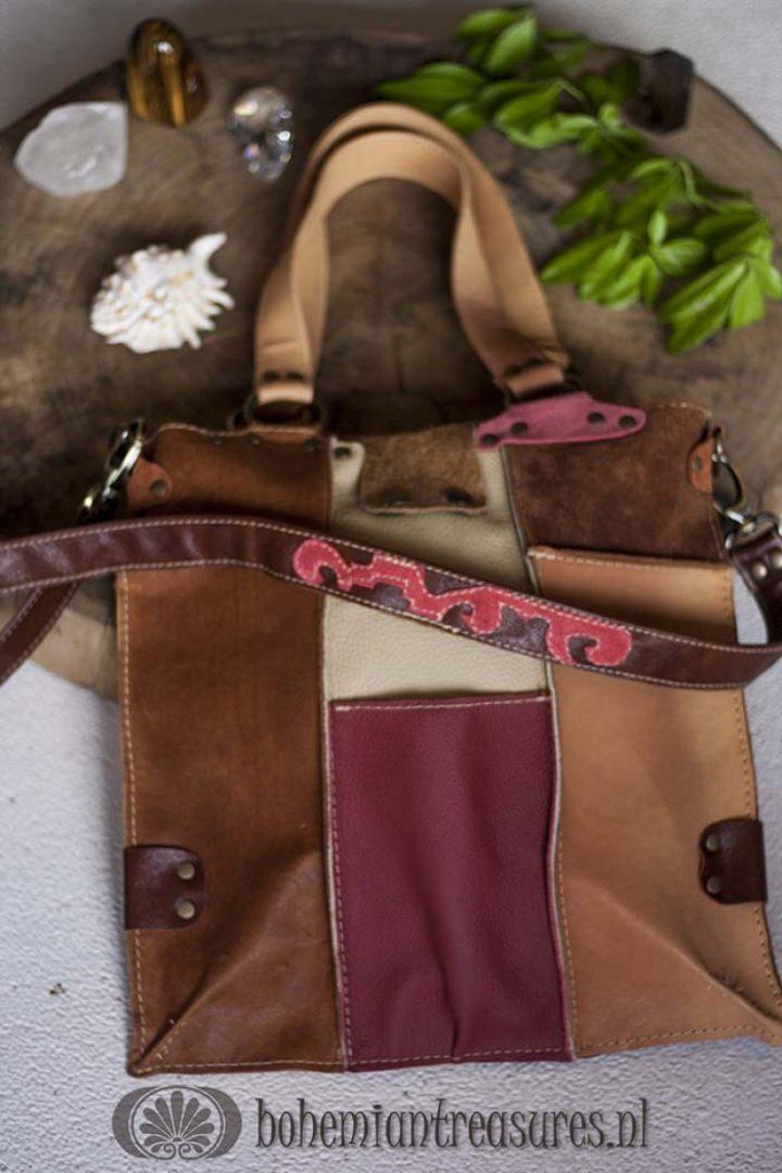patchwork tas met rood
