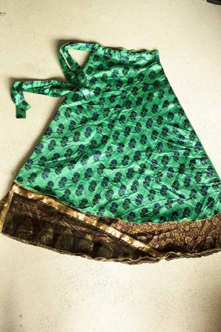 sari wikkelrok gypsy bohemian groen bruin