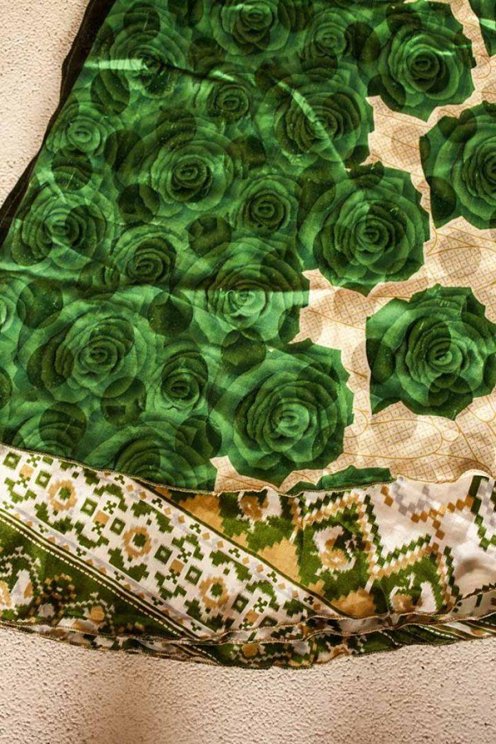 sari wikkelrok gypsy bohemian groene rozen