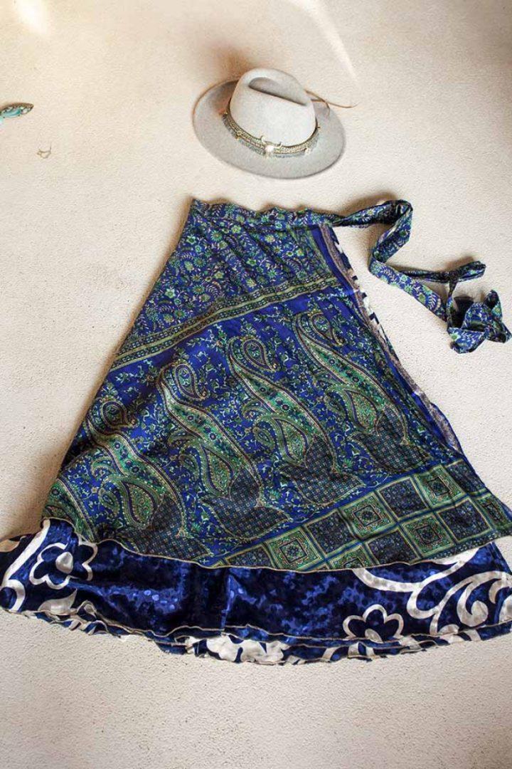 sari wikkelrok gypsy bohemian kobaltblauw groen paisley