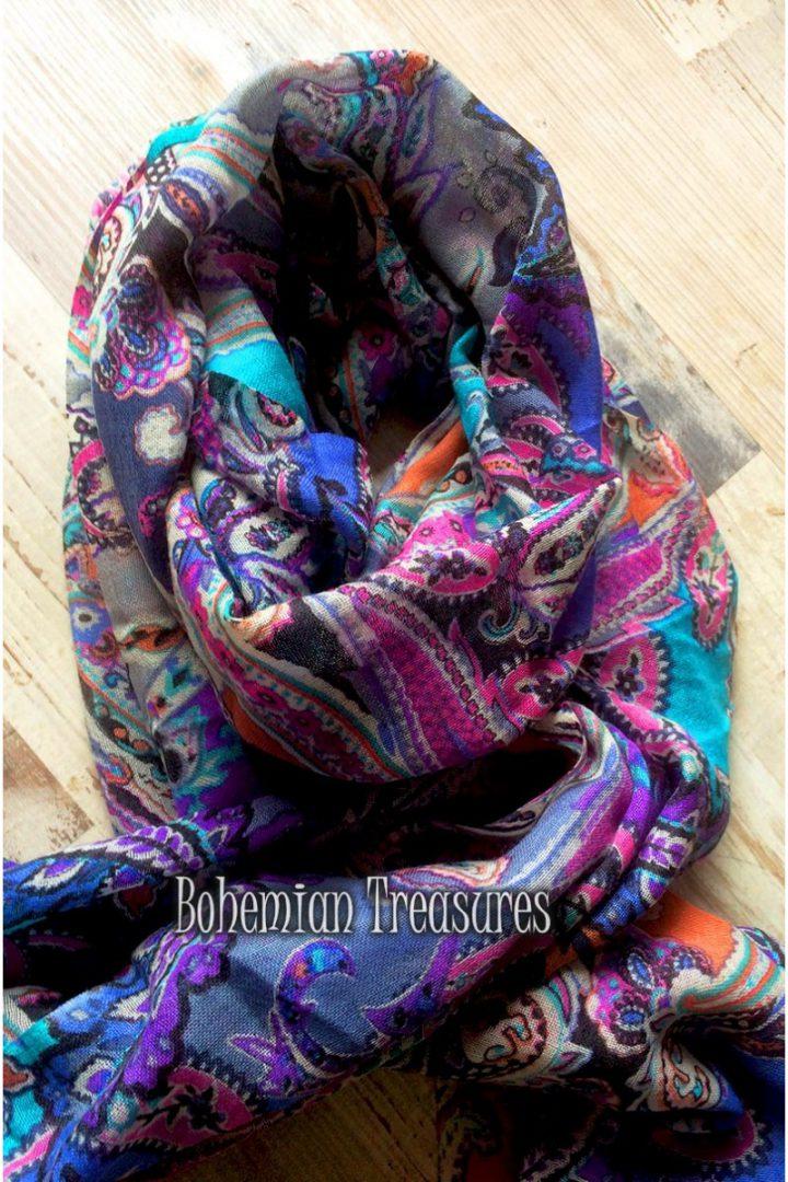 sjaal van wol met zijde en katoen