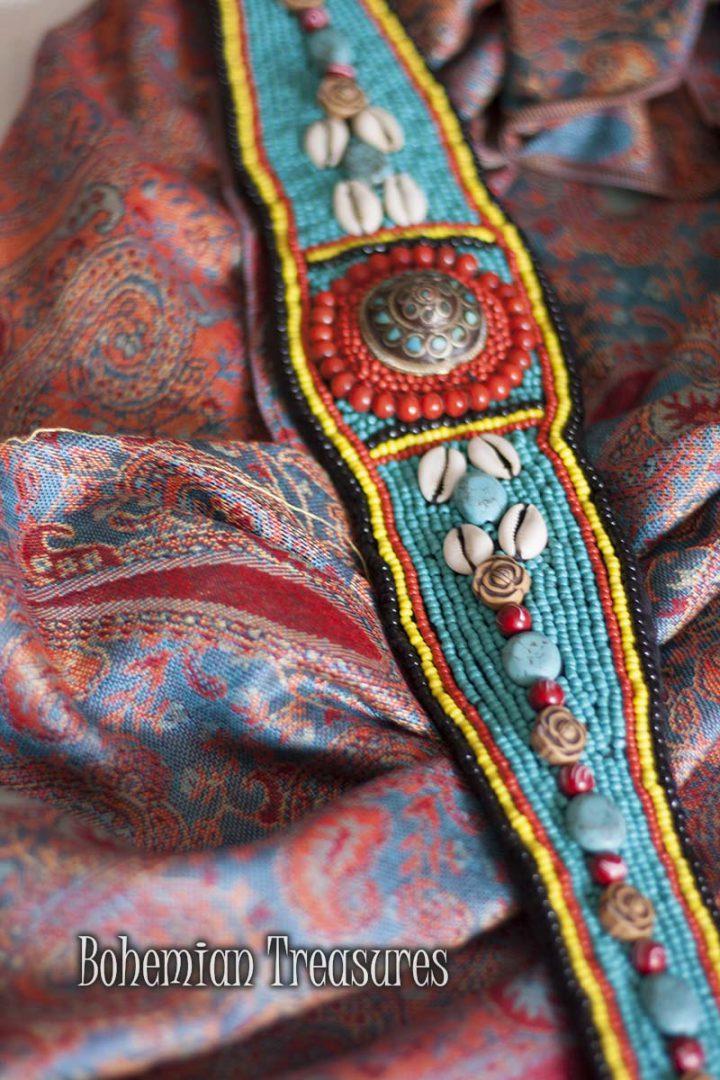 tibetaanse heup riem turqoise licht blauw met schelpjes
