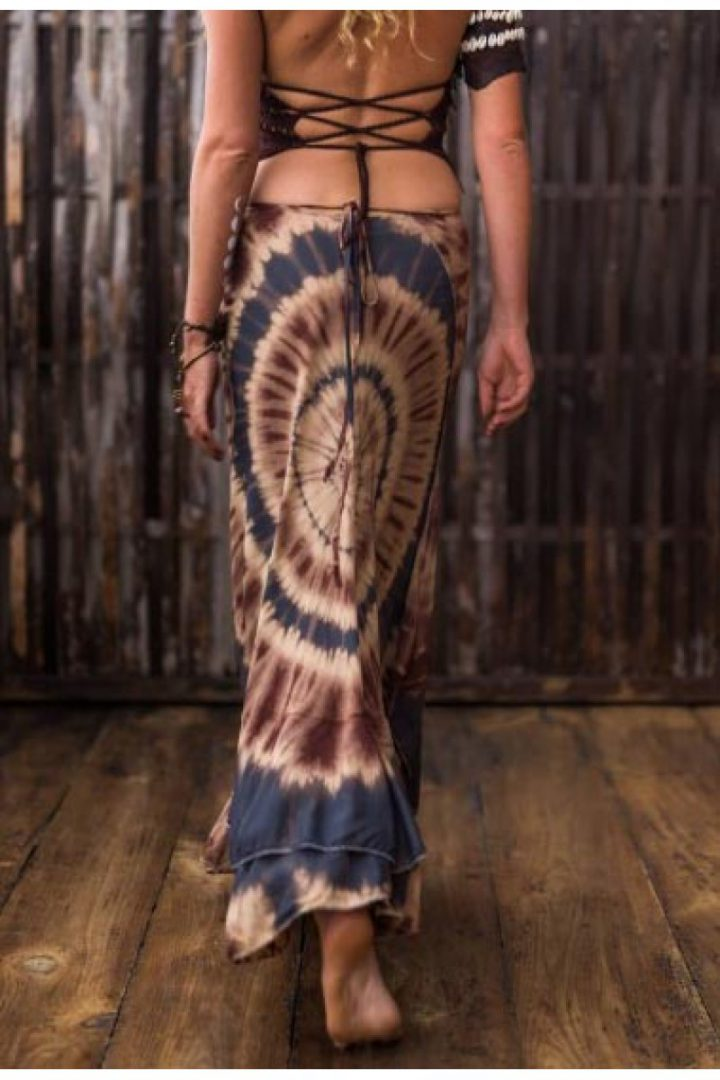 tye dye wrapskirt cotton with layers under gray brown