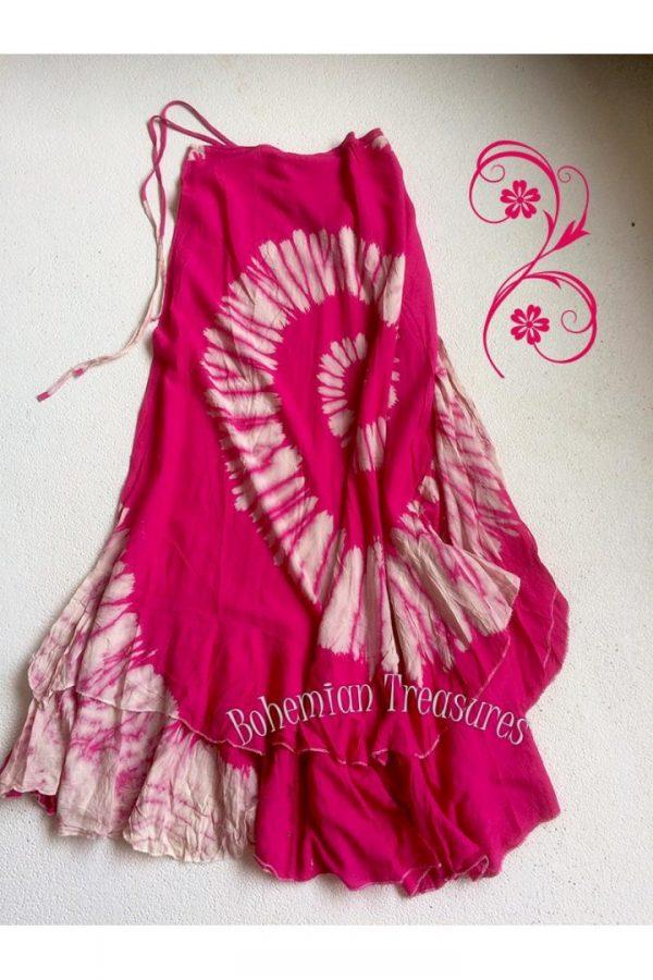 tye dye wikkelrok katoen met laagjes onder roze roomwit