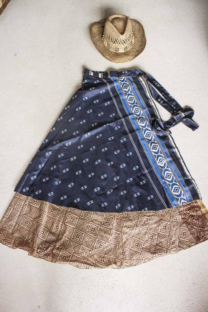 wikkelrok sari boho bohemian donkerblauw met bruin