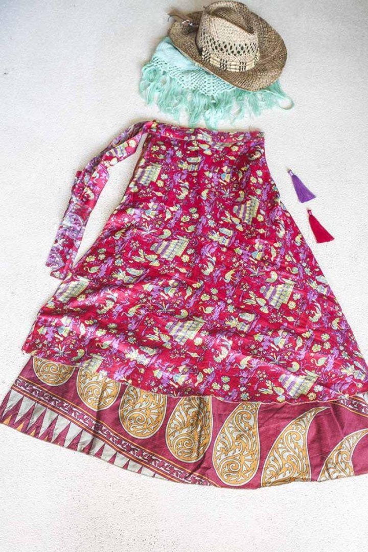 wikkelrok sari boho bohemian gypsi rozerood met kleurige print