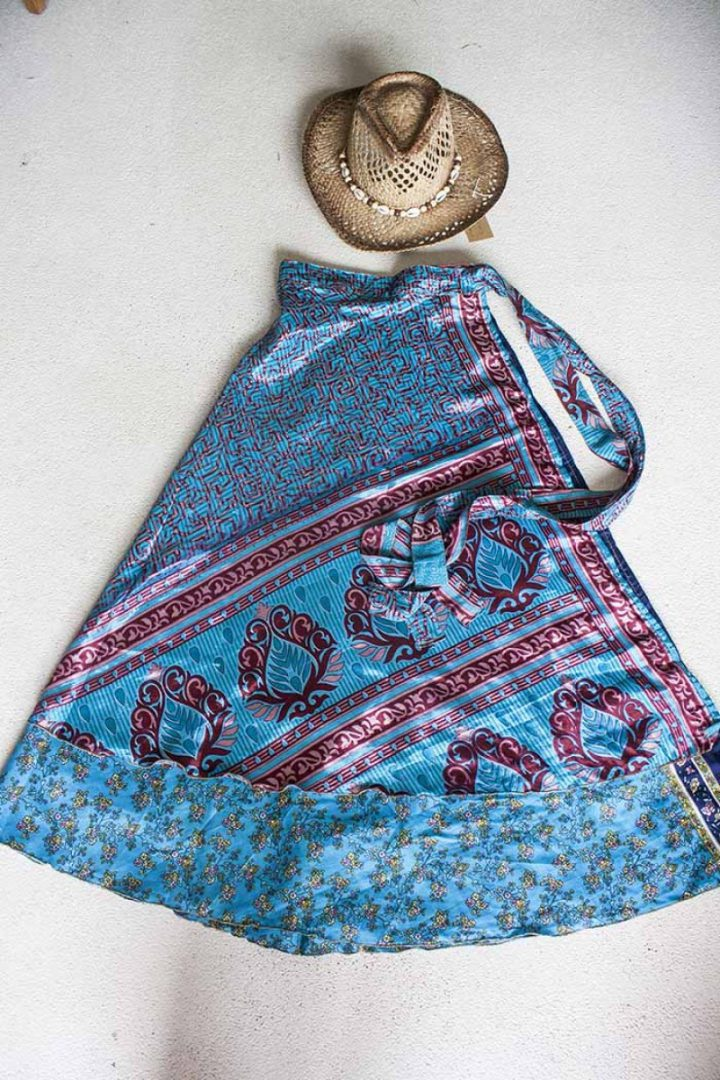 wikkelrok sari boho bohemian gypsy blauw wijnrood