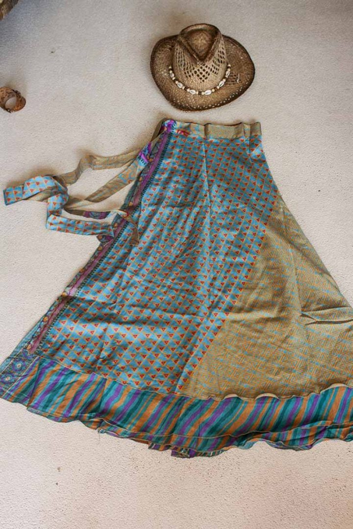 wikkelrok sari boho bohemian gypsy geel turqoise paars