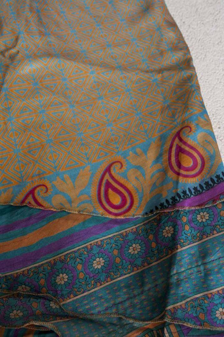 wikkelrok sari boho bohemian gypsy geel turqoise plus