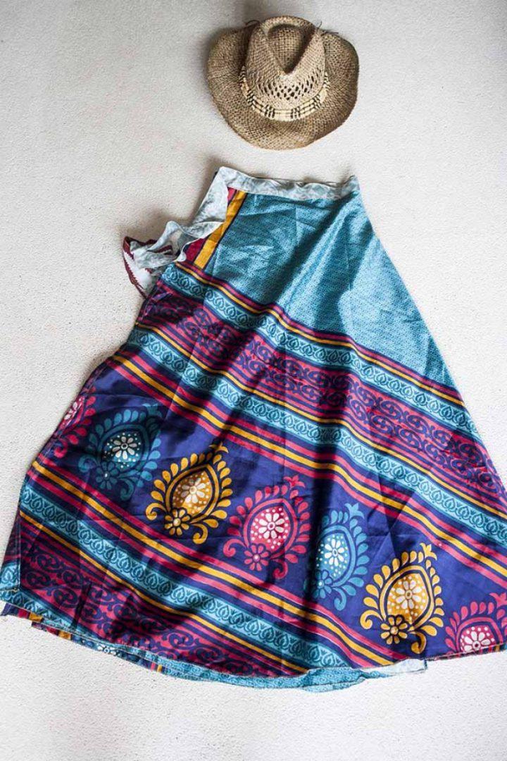 wikkelrok sari boho bohemian gypsy heel licht groen met rood blauw geel