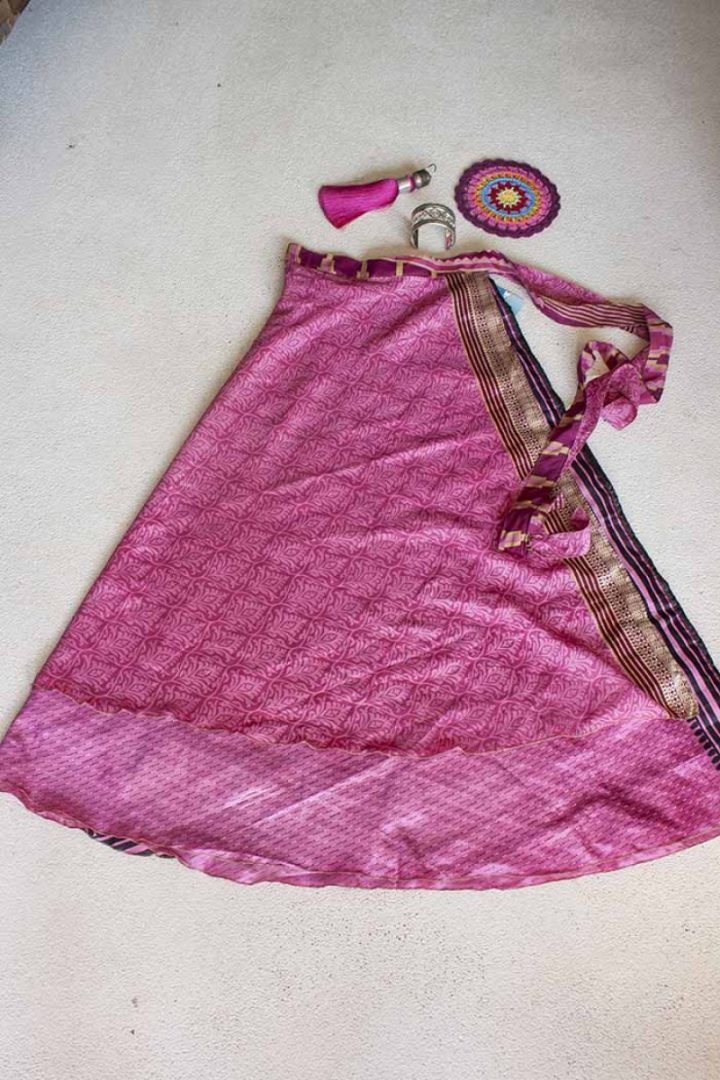 wikkelrok sari boho bohemian gypsy heerlijk roze