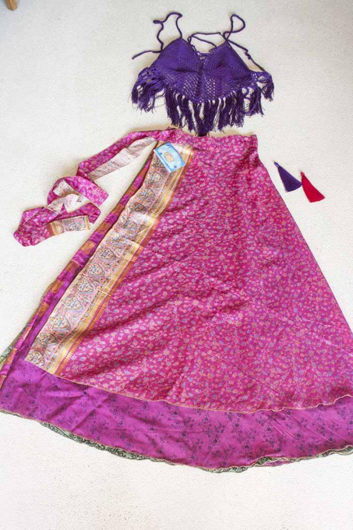 wikkelrok sari boho bohemian gypsy lekker fel roze