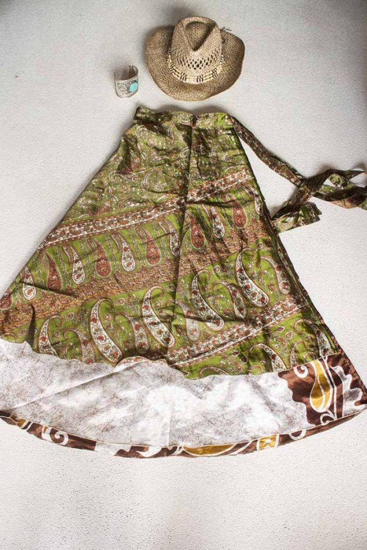 wikkelrok sari boho bohemian gypsy olifgroen met cashmir patroon