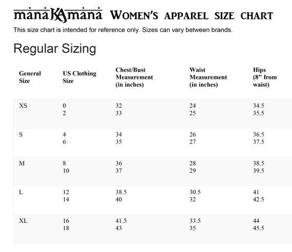 size chart harem kleding