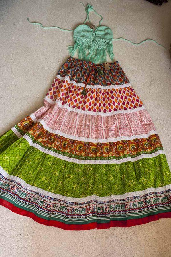 Bohemian boho Ibiza strokenrok multicolor oranje groen