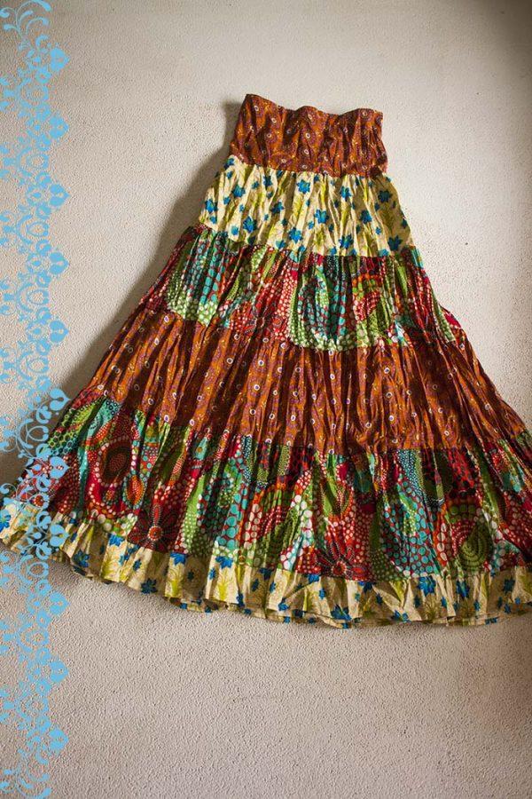 Gypsy zigeuner strokenrok lang oranje blauw rood