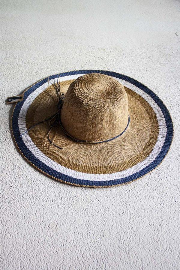 Ibiza hoed paper naturel met blauw