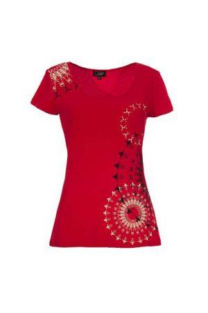 T shirt rood met mandalas