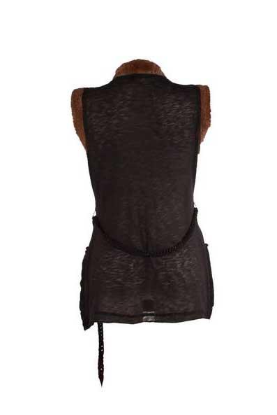 Vest zonder mouwen zwart met bont