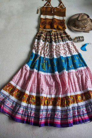boho gyspy bohemian hippie strokenrok blauw oranje bruin wit