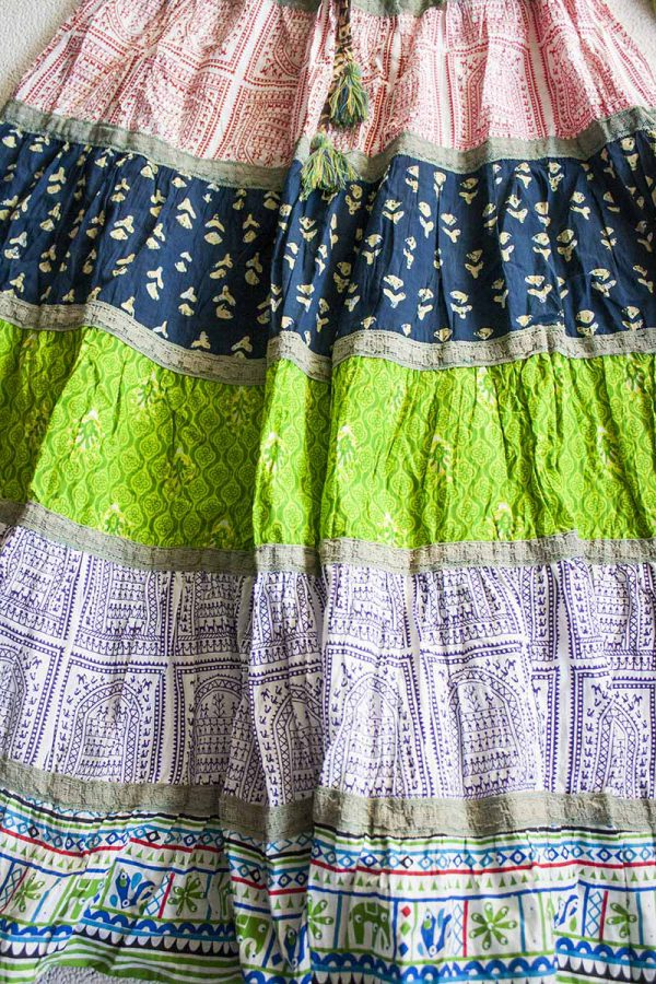 boho gyspy bohemian hippie strokenrok groen donkerblauw bruin