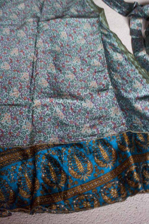 gipsy hippie wikkelrok sari licht en donker turqoise blauw