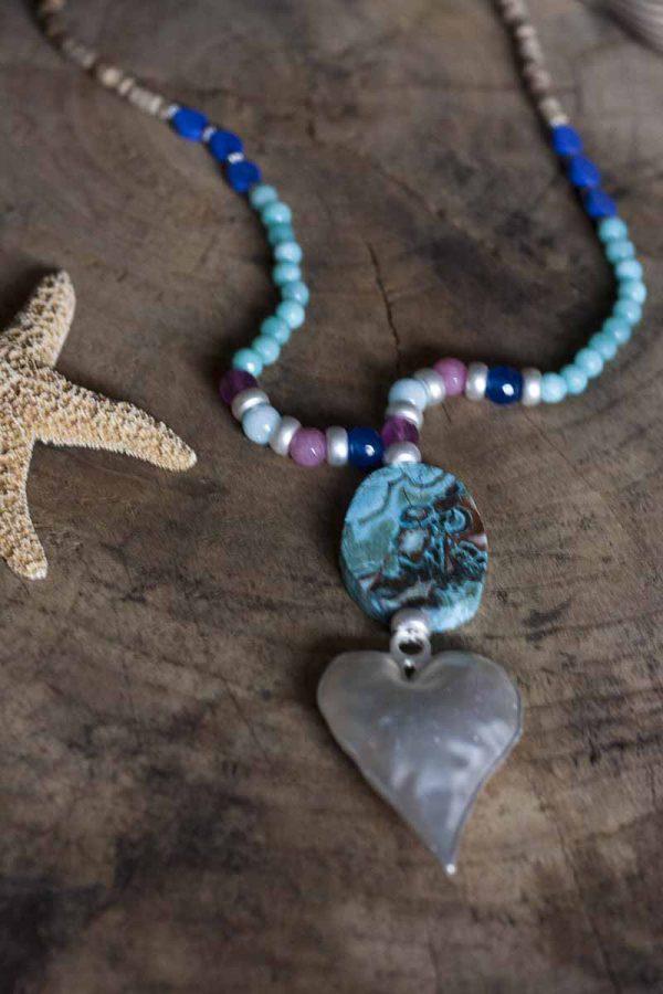 gypsy ketting turqoise met zilveren hart