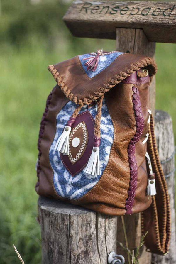 gypsy rugzakje recycled leer handmade