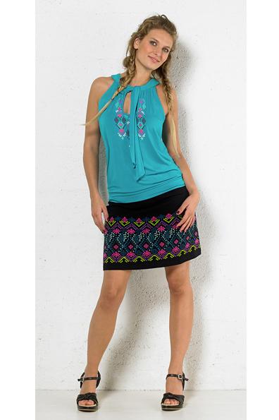 hemd turqoise met tribel print