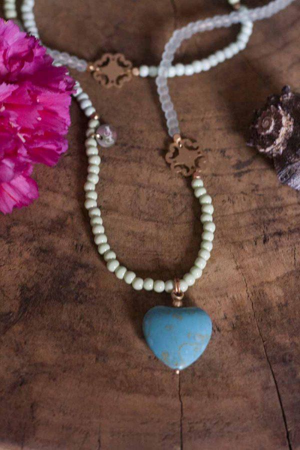 ibiza ketting groen blauw met hartje