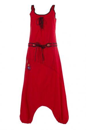 jumpsuit rood met embroidery
