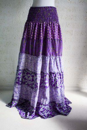lange zigeunerrok boho paars sari