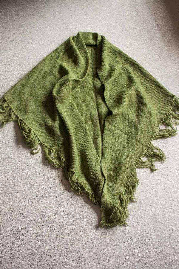 poncho groen acryl wol