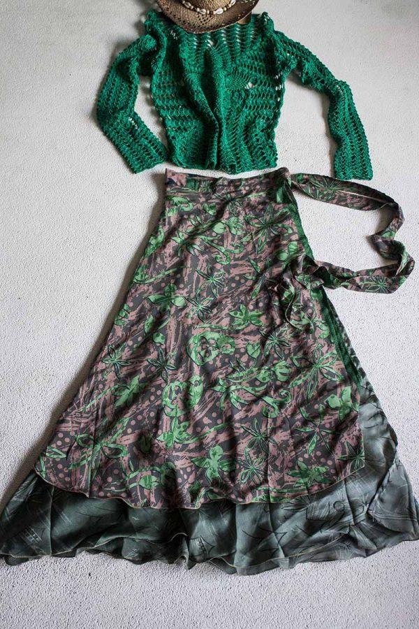 wikkelrok sari India boho gipsy groen en grijsgroen
