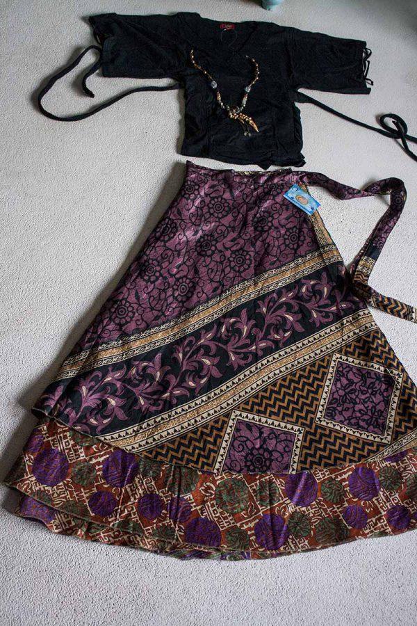 wikkelrok sari India boho gypsy auberginepaars zwart terra oranje