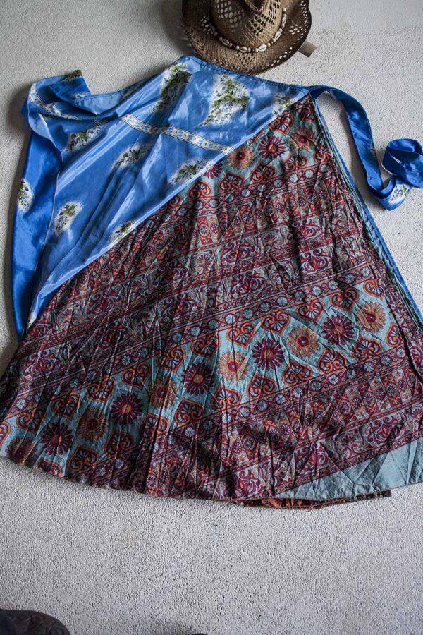 wikkelrok sari India boho gypsy blauw met bordeaux oranje grijs