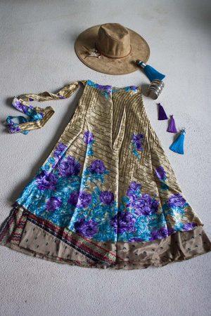 wikkelrok sari boho bohemian gipsy goud met paarse en turqoise rozen