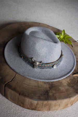 wollen hoed grijs met ibiza lint