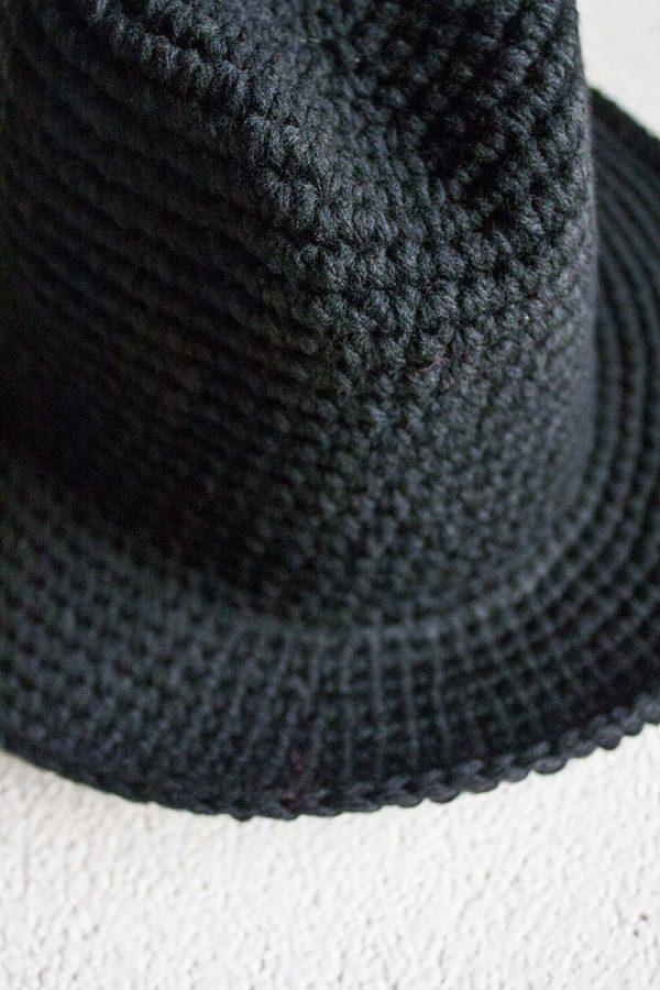 zwarte boho hoed grof gebreid