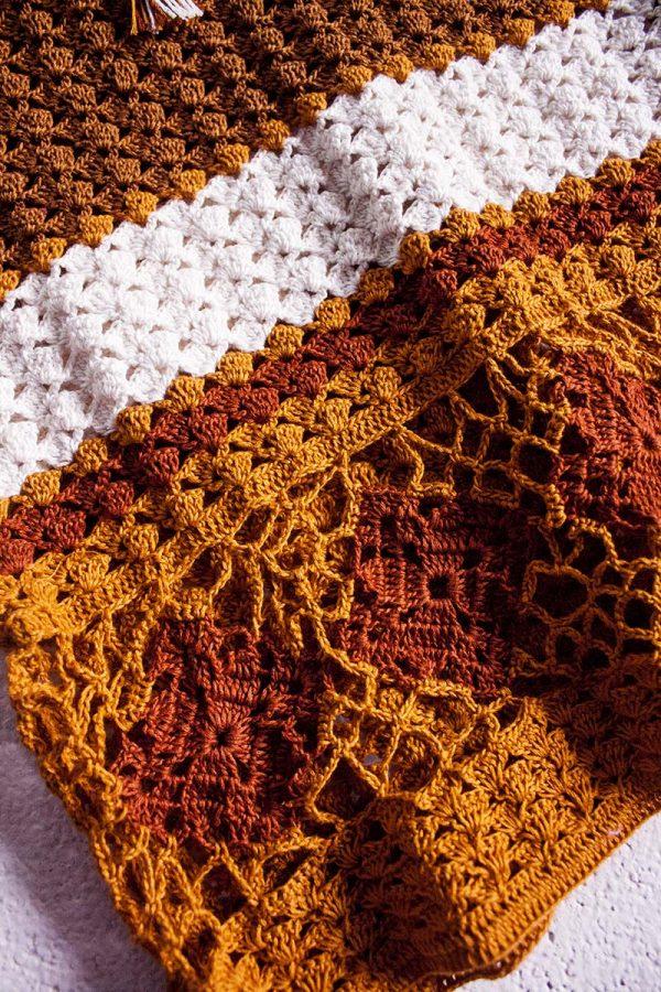 boho ibiza gypsy gehaakte top handwerk terra bruin kleuren
