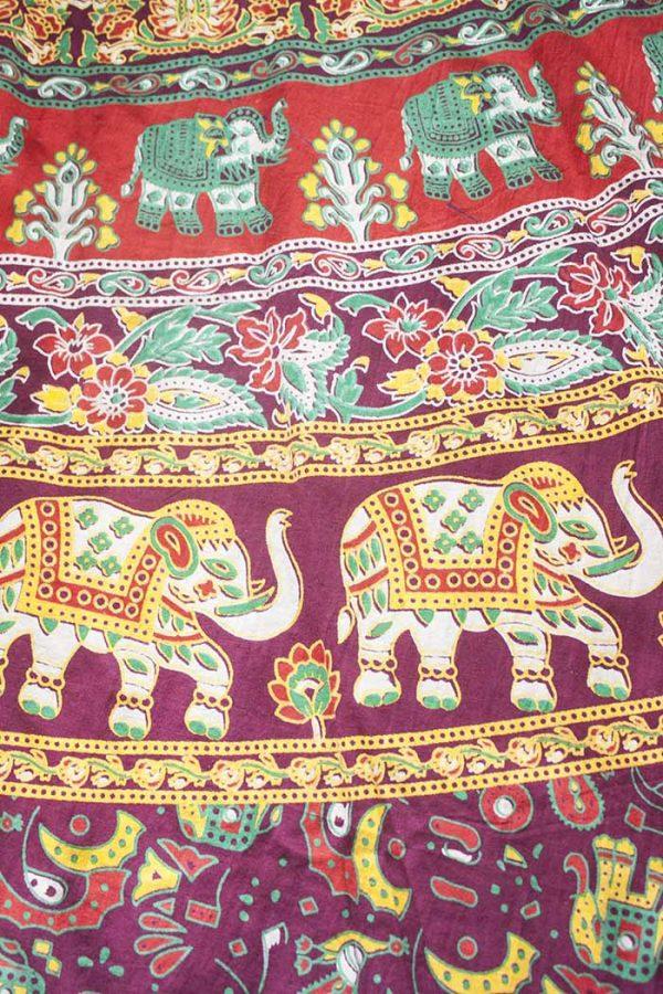 boho ibiza gypsy rok wikkelrok katoen bordeaux met olifantjes