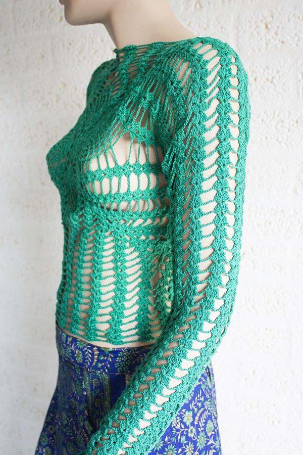 gehaakt truitje aqua groen lange mouw katoen