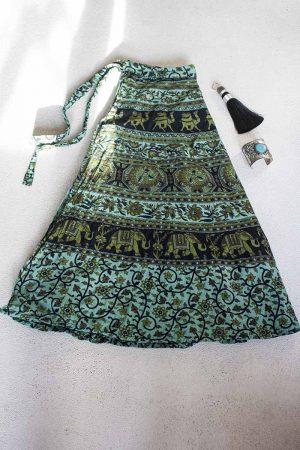 gypsy katoenen wikkel rok turqoise groen