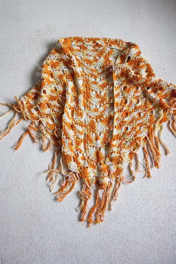 poncho sjaal gehaakt zacht oranje geel gypsy