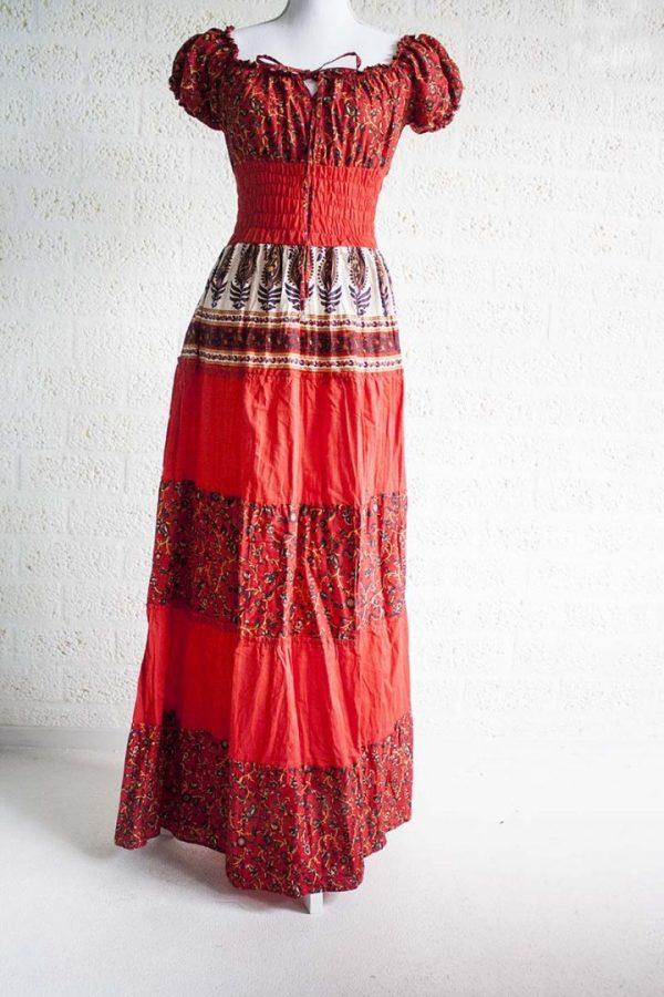 Rode Lange Jurk.Bekijk Product Lange Rode Bohemian Gipsy Jurk Katoen Bohemian