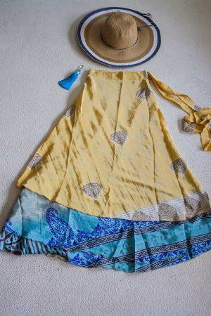 sari India wikkelrok gypsy geel met turqoise