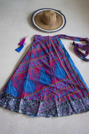 sari India wikkelrok gypsy rozerood felblauw