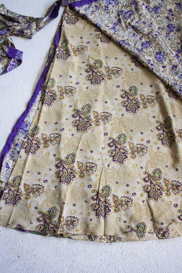 Gipsy India sari wikkelrok creme paarse bloemetjes
